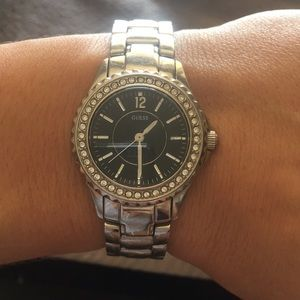 Silver banded, Black Face Guess Watch
